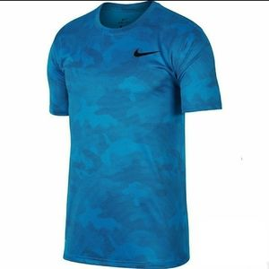 Nike Dri-Fit Camo Training Tee Shirt Blue 2XL